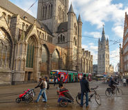 Gent. Cyclists. Royalty Free Stock Photo