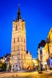 Gent, Flanders, Belgium - Belfort Tower at night Stock Photography