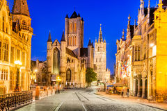 Gent Ghent Belgium Flanders. Gent, Belgium with Saint Nicholas Church and Belfort tower at twilight illuminated moment in Flanders Royalty Free Stock Images