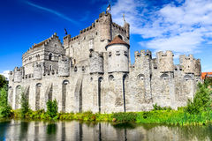 Gent Gravensteen Castle Belgium. Gent, Belgium. Gravensteen is a castle in Ghent built in 1180 AD medieval river Lieve West Flanders Royalty Free Stock Images