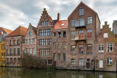 Gent. Houses along the canal. Royalty Free Stock Images