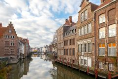 Gent. Houses along the canal. Stock Photography