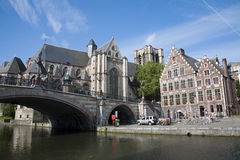 GENT - Houses from Graselei street and st. Michael Royalty Free Stock Photography