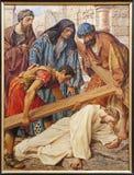 Gent - Jesus fall under cross Stock Photos