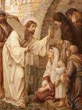 Gent - Jesus och skriande kvinnor från St. Peter s fotografering för bildbyråer