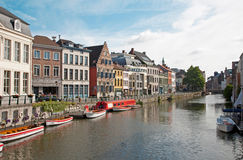 Gent - Kraanlei street with the canal and typical houses Royalty Free Stock Image