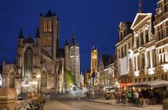 Gent -  Look from Saint Michaels bridge to Nichlas Stock Photo