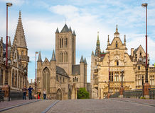Gent - Look from Saint Michaels bridge to Nicholas church and town hall. Stock Photos