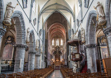 Gent - Main nave of Saint Jacob s gothic church Stock Image