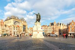 Gent. Monument to Jacob van Artevelde. Royalty Free Stock Photo