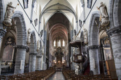 Gent - Nave of gothic church Saint Jacob Royalty Free Stock Photography