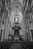 Gent - Nave of gothic church Saint Nicholas Stock Photo
