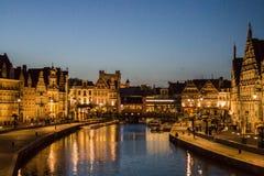 Gent noc Belgia Obraz Royalty Free