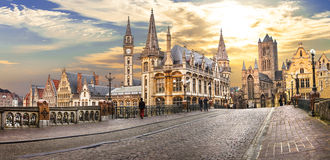 Gent over sunset. Belgium Royalty Free Stock Image