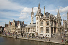 Gent - Post palace and Graselei street Stock Photos