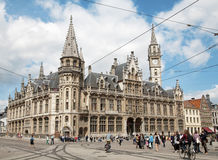 Gent - Post palace and Korenmarkt street Royalty Free Stock Photo