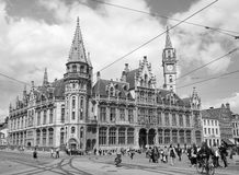 Gent - Post palace  and Korenmarkt street Stock Photography