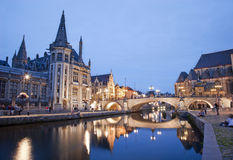 Gent - Post palace and st. Michael s bridge Royalty Free Stock Photography