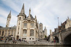Gent -  Post palace with the St. Michale s bridge Stock Images