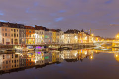 Gent. River Leie at night. Stock Images
