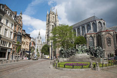 Gent - Saint Nicholas church and Van Eyck memorial Royalty Free Stock Photo