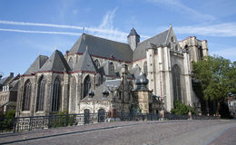 Gent - st. Michael gothic church and canal royalty free stock images