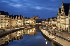 Gent - Typical houses in evening Stock Photo