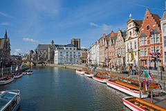Gent - Typical palaces from Korenlei street with the canal and Saint Michael church Royalty Free Stock Image