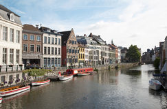 Gent - Typical street witht the canal Royalty Free Stock Image
