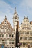 Gent - typiska gammala slottar från den Graselei streen Arkivbilder