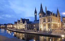 Gent - West facade of Post palace with the canal Royalty Free Stock Image