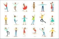 Gente abrumada de felicidad y del sistema alegre extático de personajes de dibujos animados sonrientes felices libre illustration