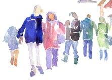 Gente abstracta que recorre en calle Imagenes de archivo