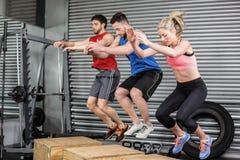 Gente adatta che fa gli esercizi con la scatola Fotografia Stock