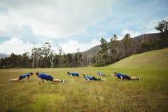 Gente adatta che si esercita di piegamento sulle braccia Fotografia Stock Libera da Diritti