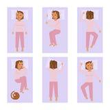 Gente addormentata nelle pose differenti Immagini Stock