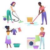 Gente adulta aislada del vector que limpia dentro Hogar de la limpieza ilustración del vector