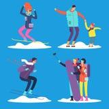 Gente, adulto y snowboard y esquí de los niños al aire libre Ilustración del vector ilustración del vector