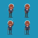 Gente afroamericana, uomo anziano Nonno in 4 pose differenti Immagini Stock Libere da Diritti