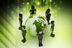 Gente alrededor de un globo que representa establecimiento de una red social Imágenes de archivo libres de regalías
