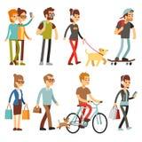 Gente ambulante Persone umane sulla via nell'insieme di vettore di attività all'aperto illustrazione vettoriale