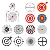 Gente, animales, dardo, sistema del vector de la blanco del tiroteo de la silueta ilustración del vector