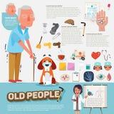 Gente anziana con le icone grafiche messe progettazione di carattere - Immagine Stock Libera da Diritti