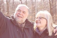 Gente anziana Selfie delle coppie anziane senior felici Fotografia Stock