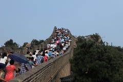 Gente apretada en la gran pared china Fotografía de archivo libre de regalías