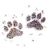 Gente bajo la forma de pistas animales Imágenes de archivo libres de regalías