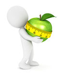 gente bianca 3d che tiene una mela illustrazione di stock