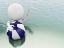 gente bianca 3d con beach ball in acqua Fotografia Stock Libera da Diritti