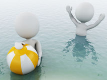 gente bianca 3d con beach ball in acqua Immagine Stock