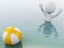 gente bianca 3d con beach ball in acqua Fotografia Stock